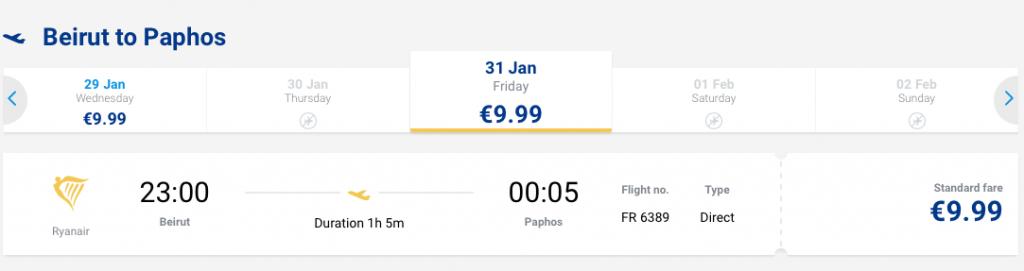 Tanie loty do Libanu - Pafos 31 stycznia 9,99 EUR