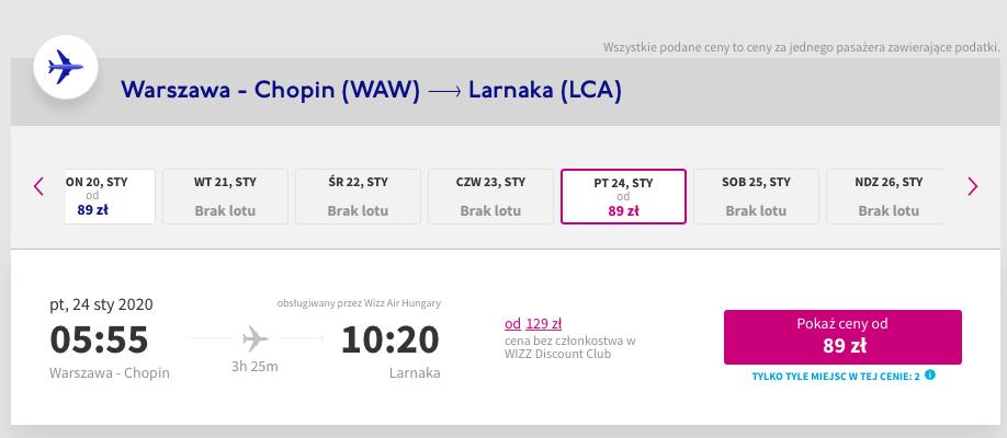 Tanie loty do Libanu -  Warszawa - Larnaka 24 stycznia 89 PLN